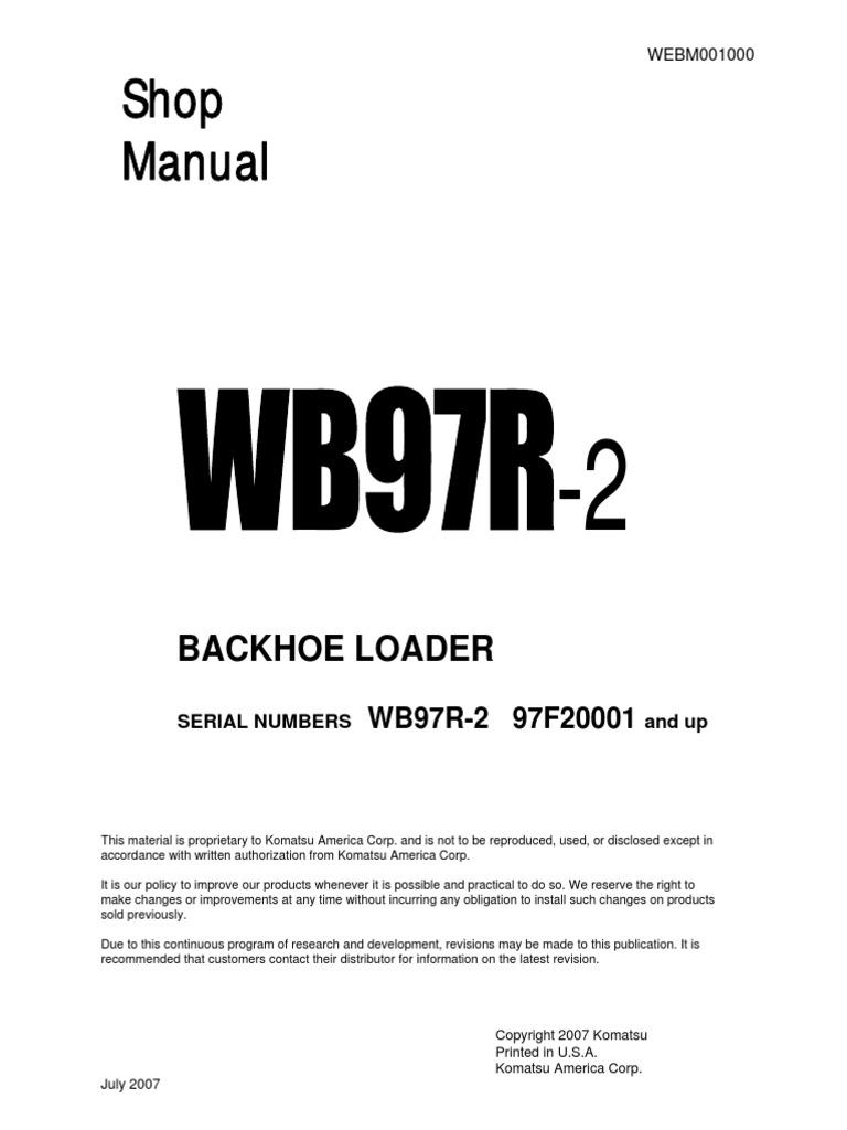 Backhoe+Loader+WB97R+Shop+manual pdf | Transmission (Mechanics