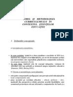 Teoria Şi Metodologia Curriculumului În Contextul Ştiinţelor Educaţiei