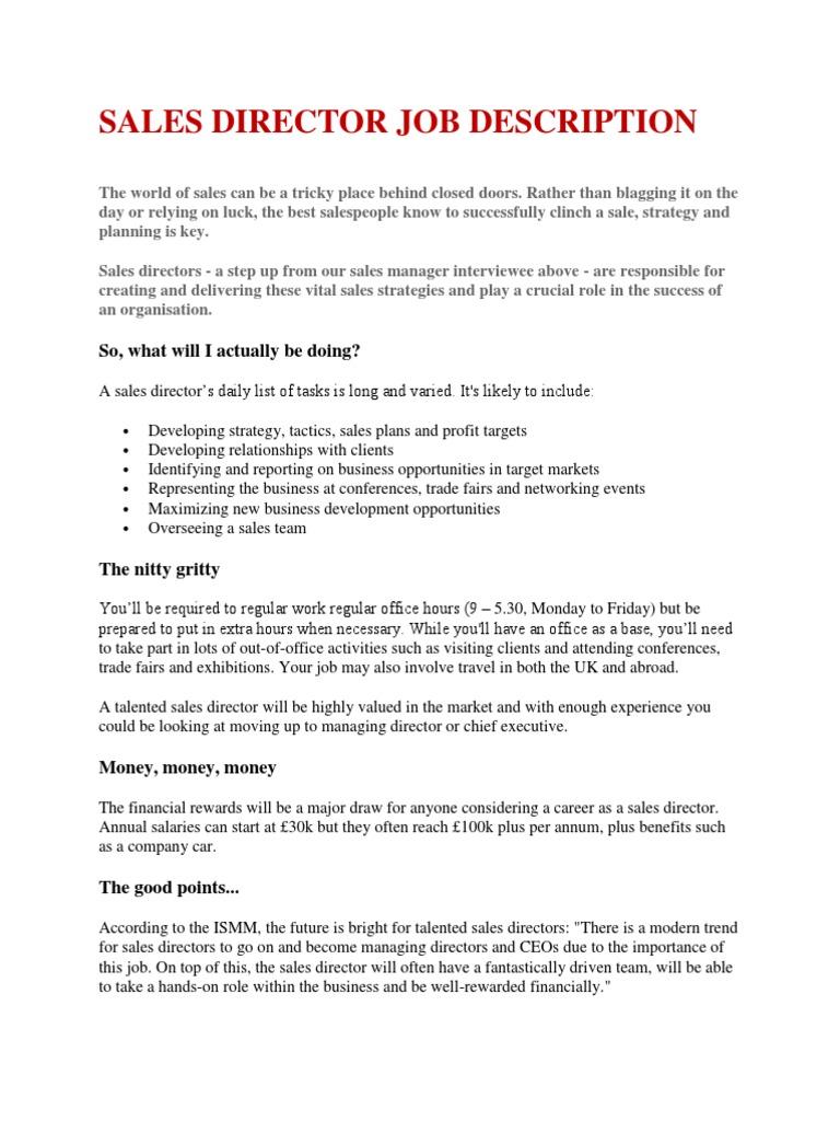 Director Job Description | Job Description Sales Director Sales Board Of Directors