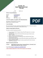 UT Dallas Syllabus for ee6360.501.09f taught by P Rajasekaran (pkr021000)