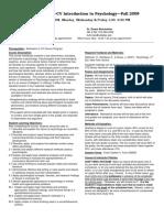 UT Dallas Syllabus for psy2301.001.09f taught by James, Duane Bartlett, Buhrmester (jbartlet, buhrmest)