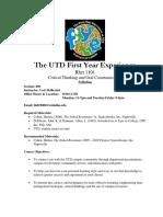 UT Dallas Syllabus for rhet1101.006.09f taught by Lori Skillestad (lls019000)