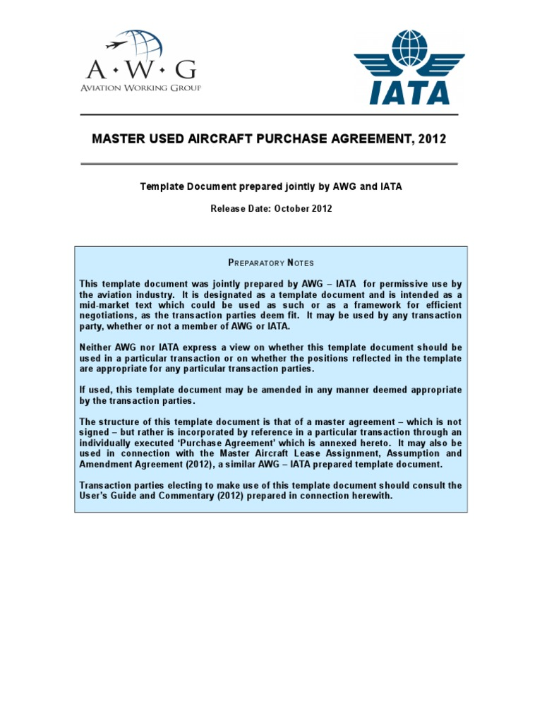 Ny New Master Used Aircraft Purchase Agreementc Lease Indemnity