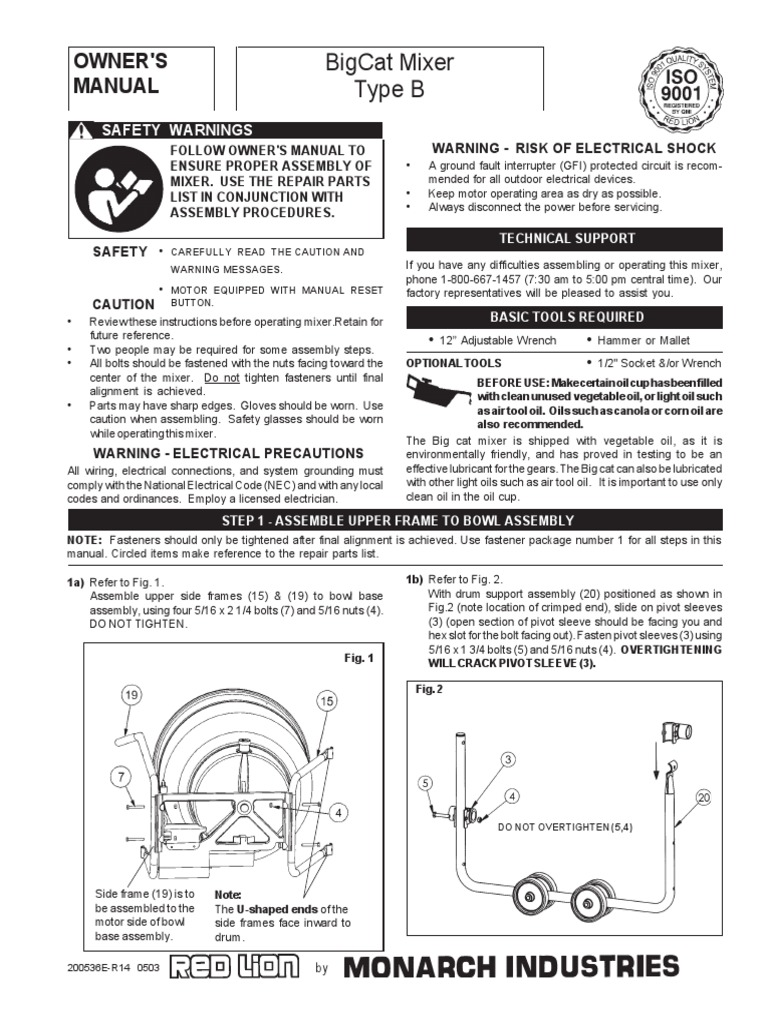 Big Cat Mixer Manual | Nut (Hardware) | Screw