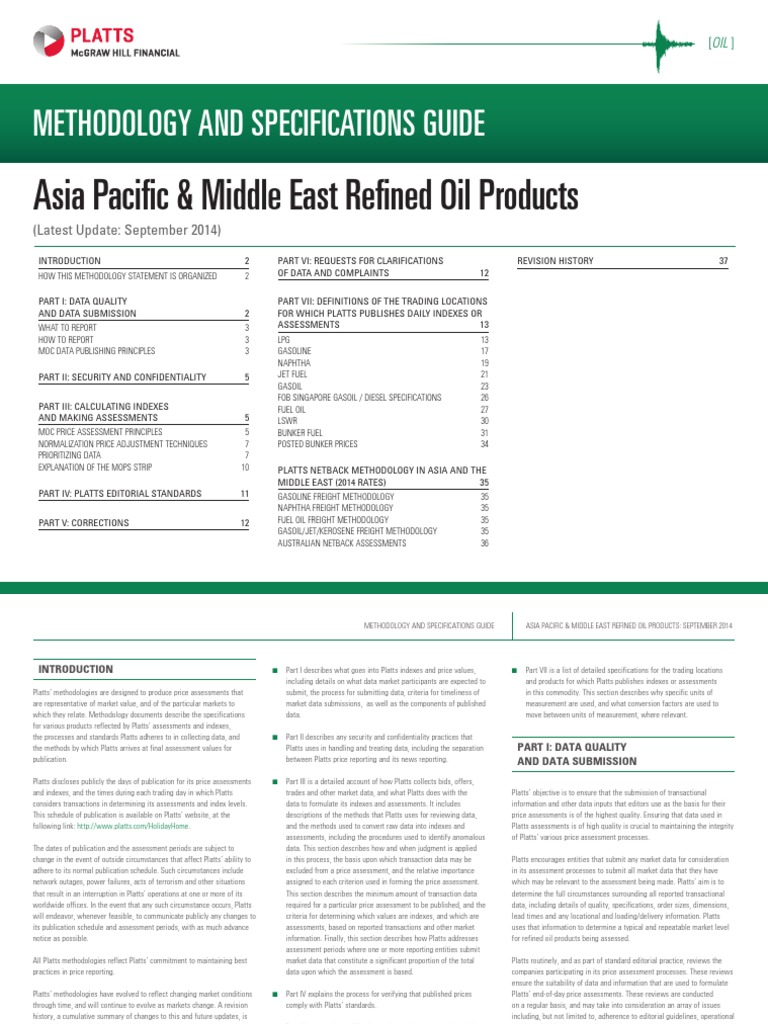 Asia Refined Oil Products Methodology PLATTS | Fuel Oil | Prices