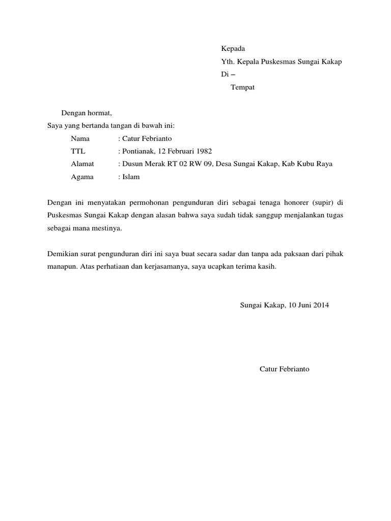 Contoh Surat Pengunduran Diri Puskesmas Simak Gambar Berikut