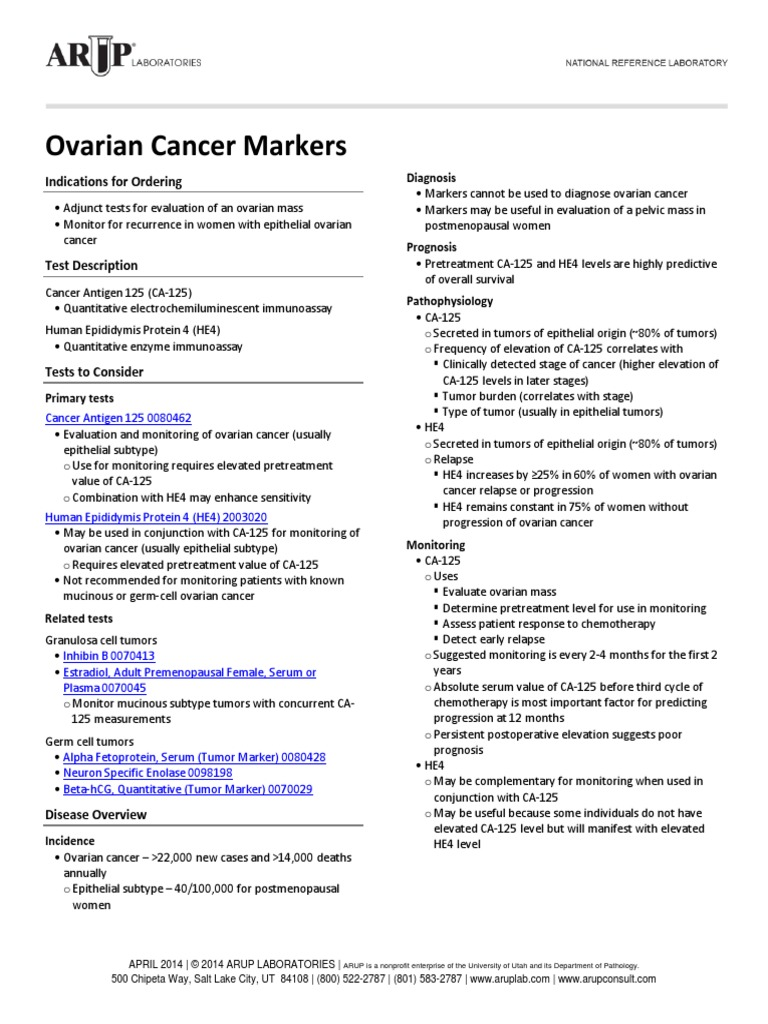 Tumor Markers in Screening for Ovarian Cancer - Springer