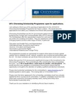 HC Chevening Letter to Promote Applications