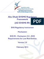 EHS Requirements for Low Risk Entities