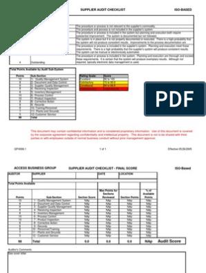 ISO Audit Checklist xls   Audit   Verification And Validation