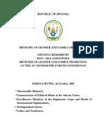 Ministry of Gender opening remarks in Kigali, HLD Gender Pre Forum