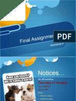 Workshop 6 - Final Assignment Prep