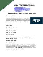 Year 6 Newsletter Autumn 2014