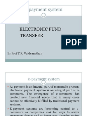 Electronic Fund Transfer | Cheque | Debit Card