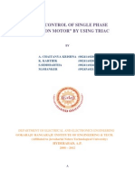 """Speed Control of Single Phase Induction Motor"""" by Using Triac"""