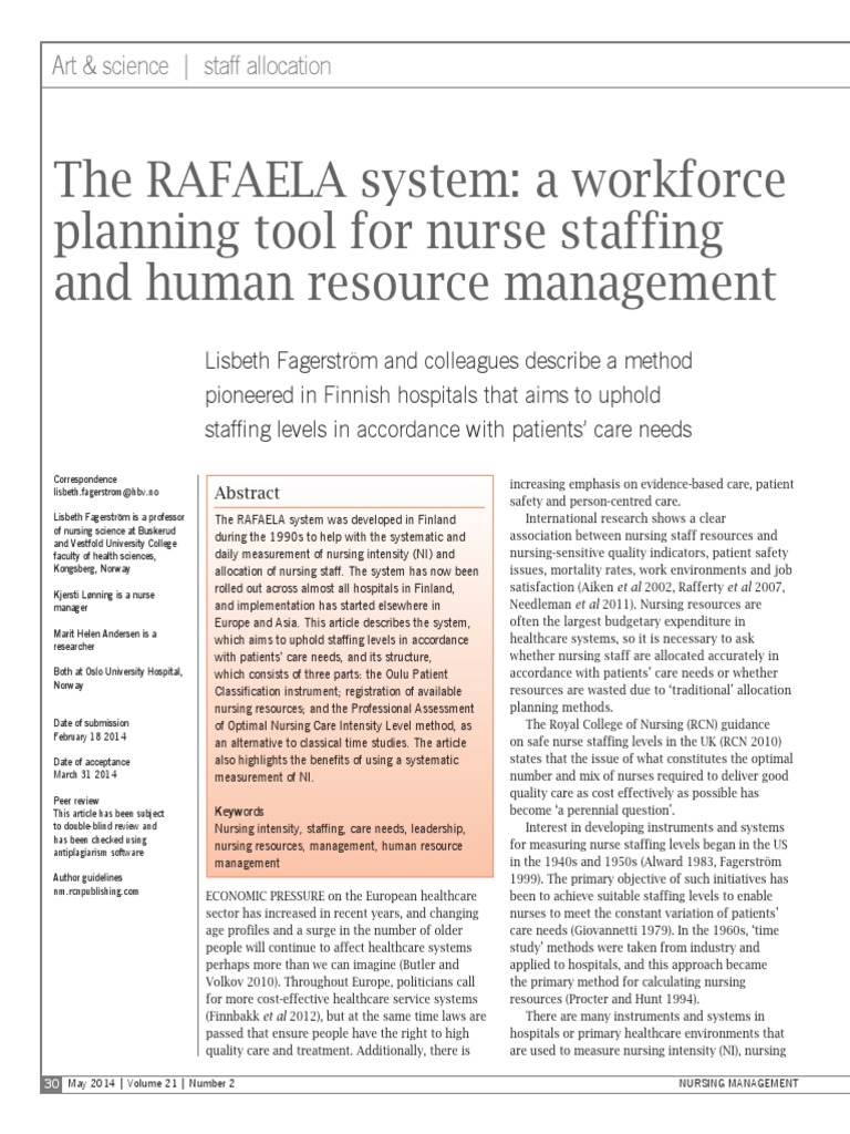 the rafaela system - a workforce planning tool for nurse staffing
