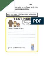T T 522 Goldilocks Letter to the Three Bears Editable
