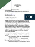 Analysis of Collective Decision Making Syllabus