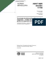 ABNT NBR 17799 (2005) - Tecnologia da informação - Técnicas de segurança - Código de prática para a gestão da seguranca da informação.PDF