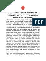 PROPOSITOS E IMPORTANCIA DE LA ORDEN DE LA SAGRADA SABIDURIA EN EL CONTEXTO  DE LA MASONERIA BOLIVIANA Y UNIVERSAL.doc