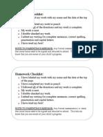 Homework Checklist for Kindergarten Students