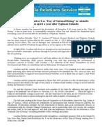 "oct07.2014Bill declares November 8 as ""Day of National Rising"" to rekindle Bayanihan spirit a year after Typhoon Yolanda"