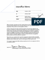 Oct.2, 2014 memo on appointment of Anthony Roman as Customer Communications Manager