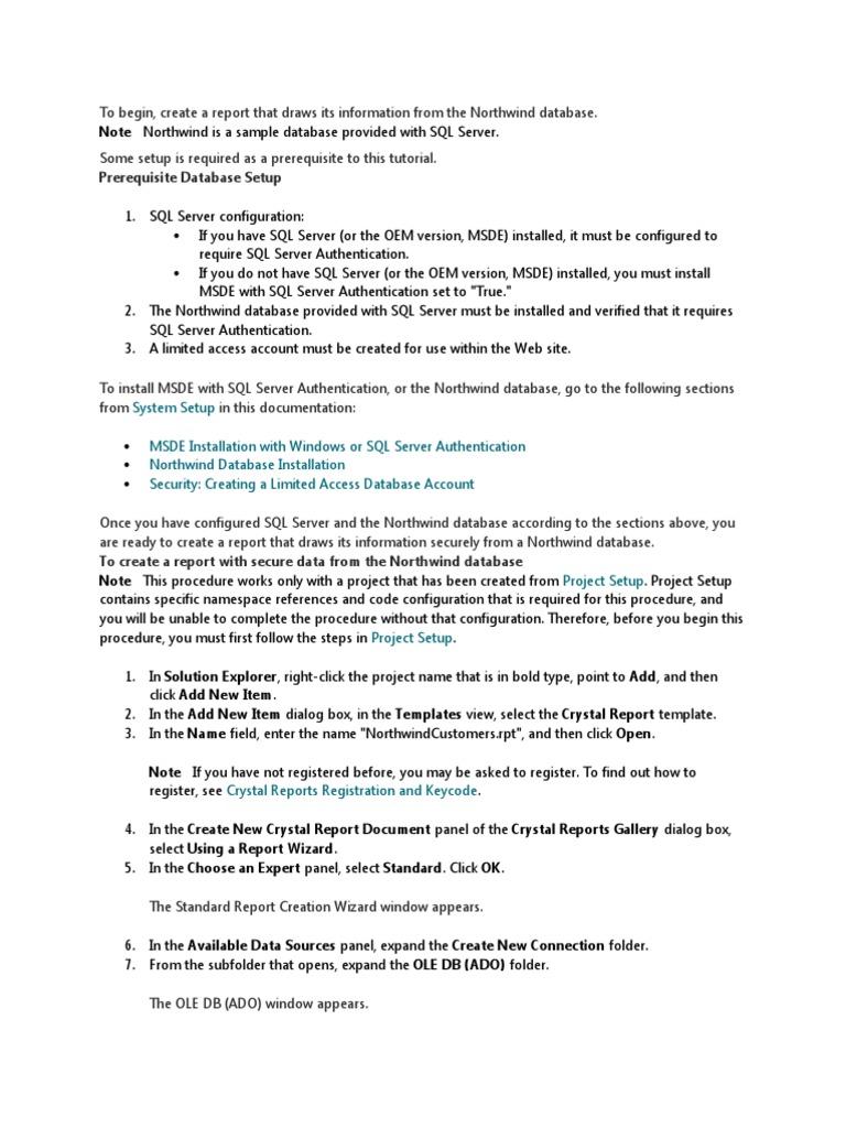 Crystal Cnctn to SQL Server   Microsoft Sql Server   Databases