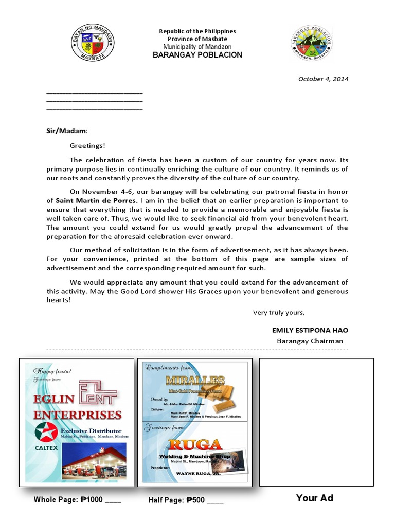 Solicitation letter for fiesta 2014 altavistaventures Choice Image