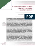 LA POLITIQUE MONETAIRE DE LA BANQUE CENTRALE EUROPEENNE DANS TOUS SES ETATS