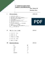 Maths Paper Class III