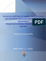 Accuracy and Bias of Equity Analysts - Paola de Vincentiis