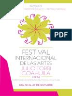 Programa del Festival Internacional de las Artes Coahuila Julio Torri 2014