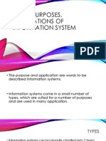 types purposes applications of information system