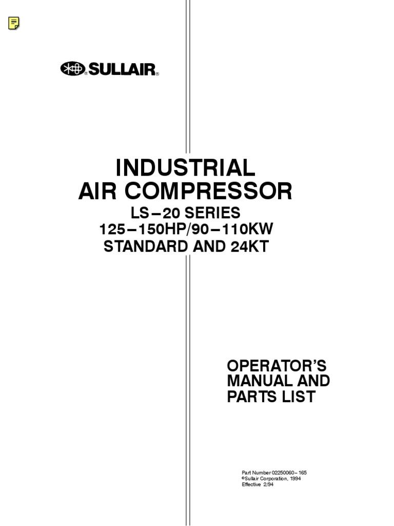 sullair air compressor parts manual