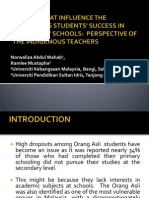 factorsthatinfluencetheindigenousstudentssuccessinsecondaryschoolsperspectiveoftheindigenousteachers-130402034546-phpapp02