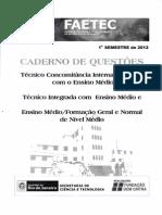 Prova Resolvida 1º semestre FAETEC 2012