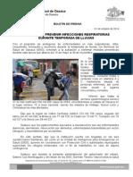 01 de octubre de 2014 EXHORTA SSO PREVENIR INFECCIONES RESPIRATORIAS  DURANTE TEMPORADA DE LLUVIAS .doc