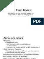 Final Exam Review Spring 2014 111A