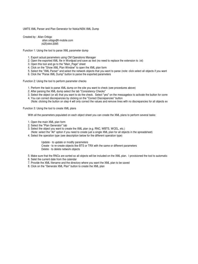 UMTS XML Plan Generator Ver 2 6
