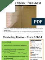 september vocabulary review