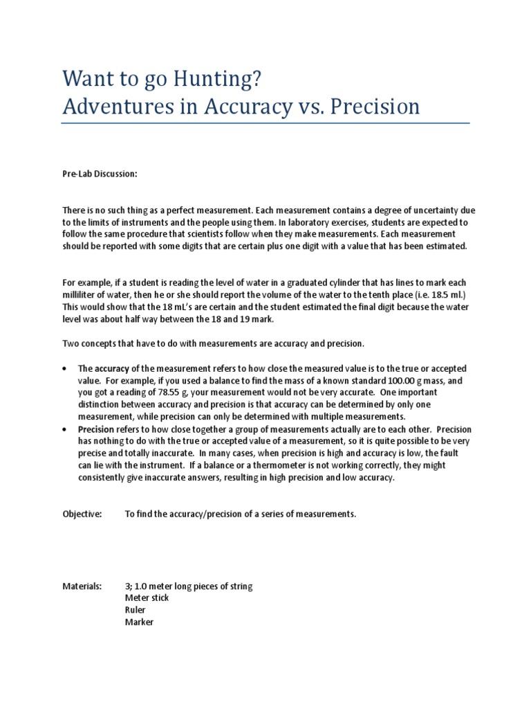 Accuracy Vs Precision Worksheet Graduated Accuracy Vs Precision In