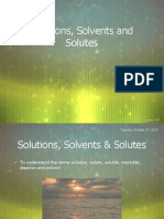solutions solvents  solutes
