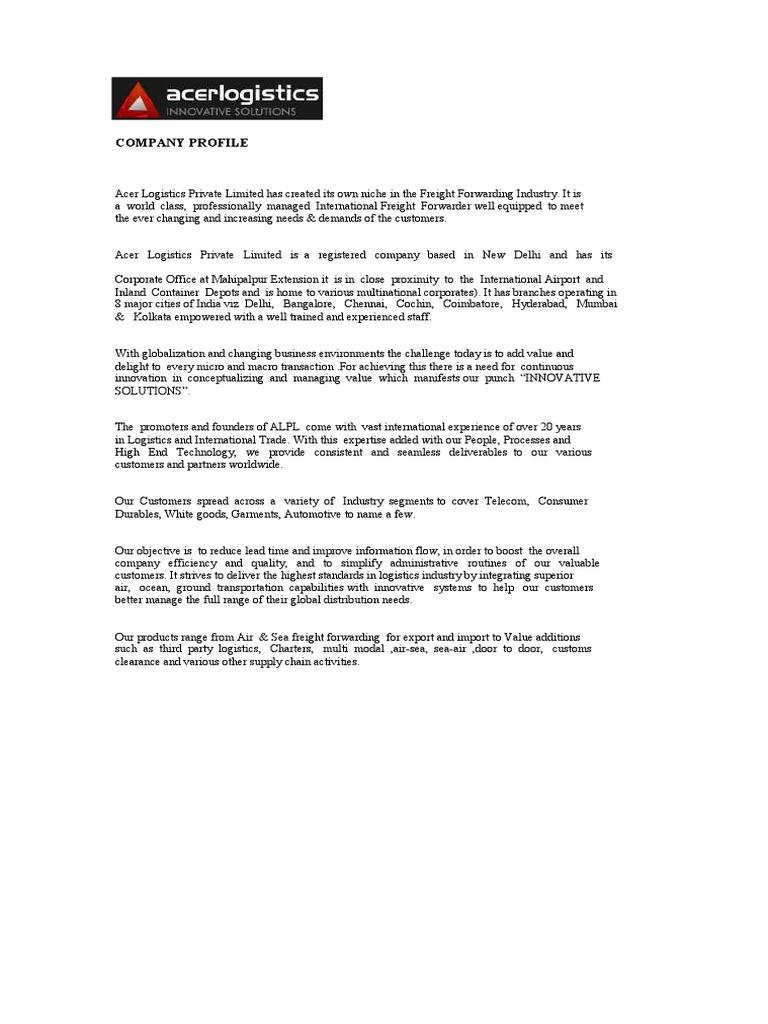 profile pdf | Cargo | Warehouse