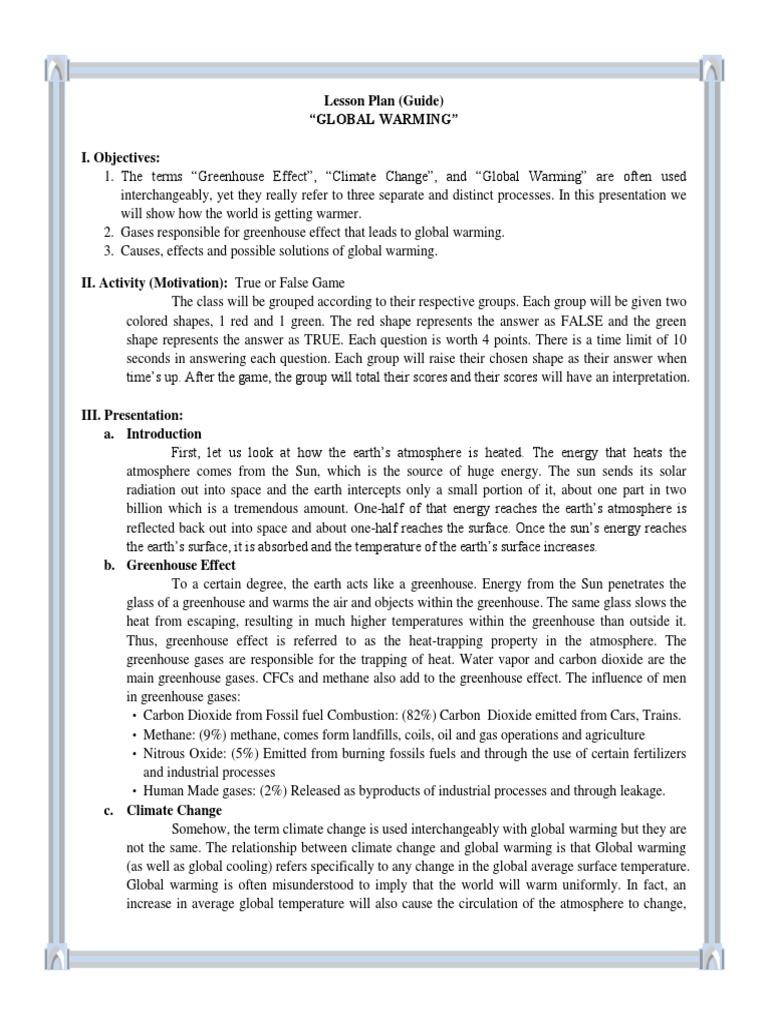 Worksheets Global Warming Worksheet lesson plan about global warming greenhouse effect