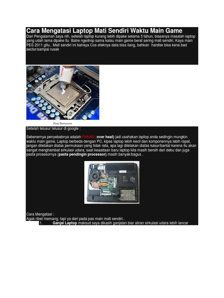Cara Mengatasi Laptop Mati Sendiri Waktu Main Game Pasta Pendingin Processor