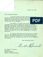 President Roosevelt Letter to Webster