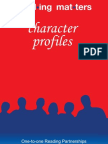 Reading Matters in Sheffield Character Profiles