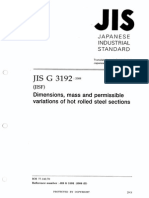 Japanese Industrial Standard (JIS) G3192 (2008) Hot Rolled Sections