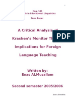 A Critical Analysis of Krashen's Monitor Theory